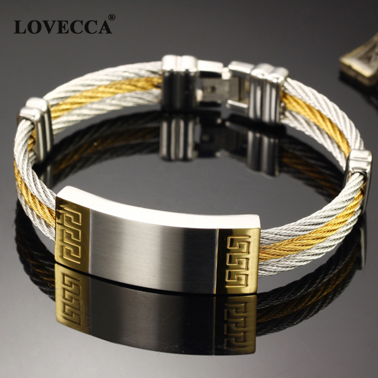 Slgh755 Mens Cuff Cable Bracelets Stainless Steel China 316l Bracelet