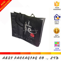 custom reusable logo printed big black non woven cloth bag for packing jeans