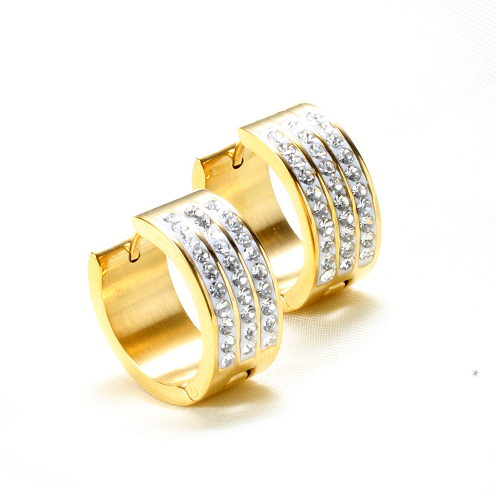 Fashion Jewelry Stainless steel  Gold and Silver Three Row Crystal hoop  Earrings For Women
