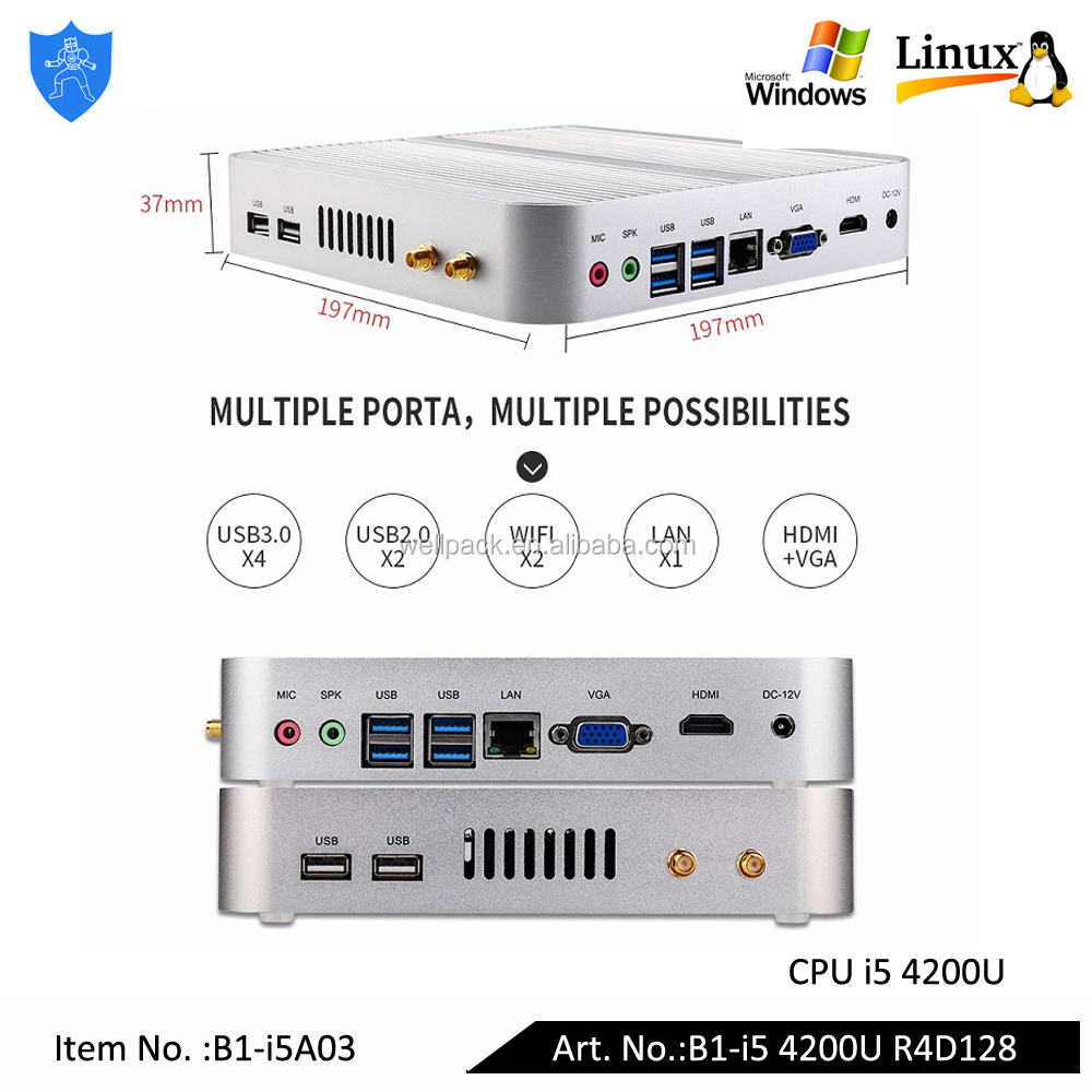 Well Armor Intel Core i5 4200U 1.6GHz Dual Core 4 thread 300M Wifi with Vesa Fanless Desktop Computer RAM 4G SSD 128G Mini <strong>PC</strong>