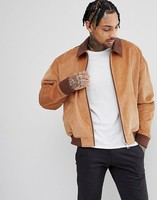 2018 wholesale men cord oversized harrington jacket coat with faux suede collar
