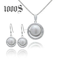 Heavy Pearl Necklace Set Silver 925 Micro-Pave cz Wedding Bridal Round Jewelry Set