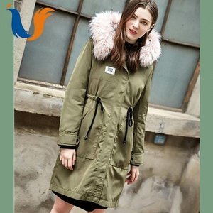 New design canada style fashionable drawstring fur parka for women