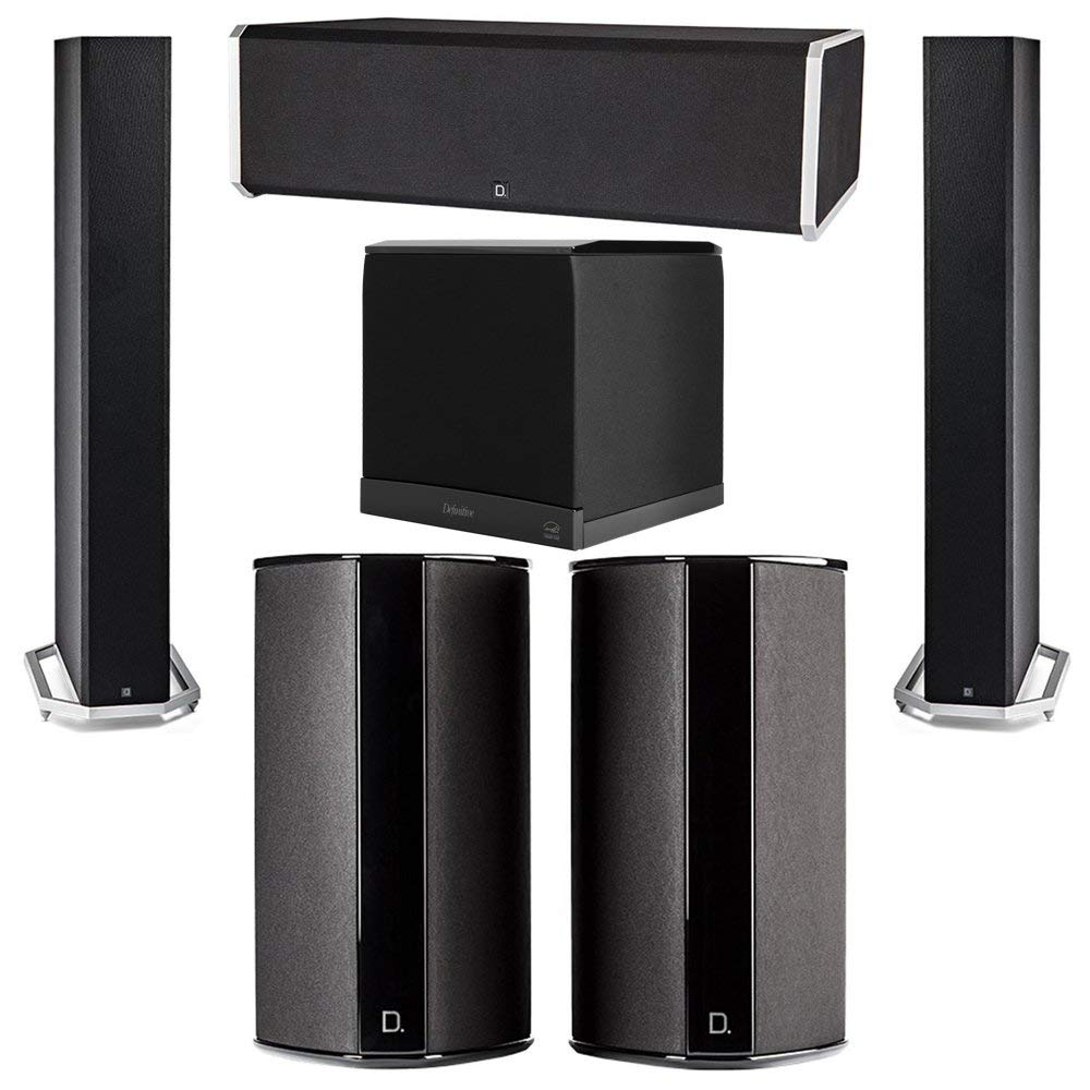 Definitive Technology 5.1 System with 2 BP9060 Tower Speakers, 1 CS9080 Center Channel Speaker, 2 SR9080 Surround Speaker, 1 Definitive Technology SuperCube 6000 Powered Subwoofer