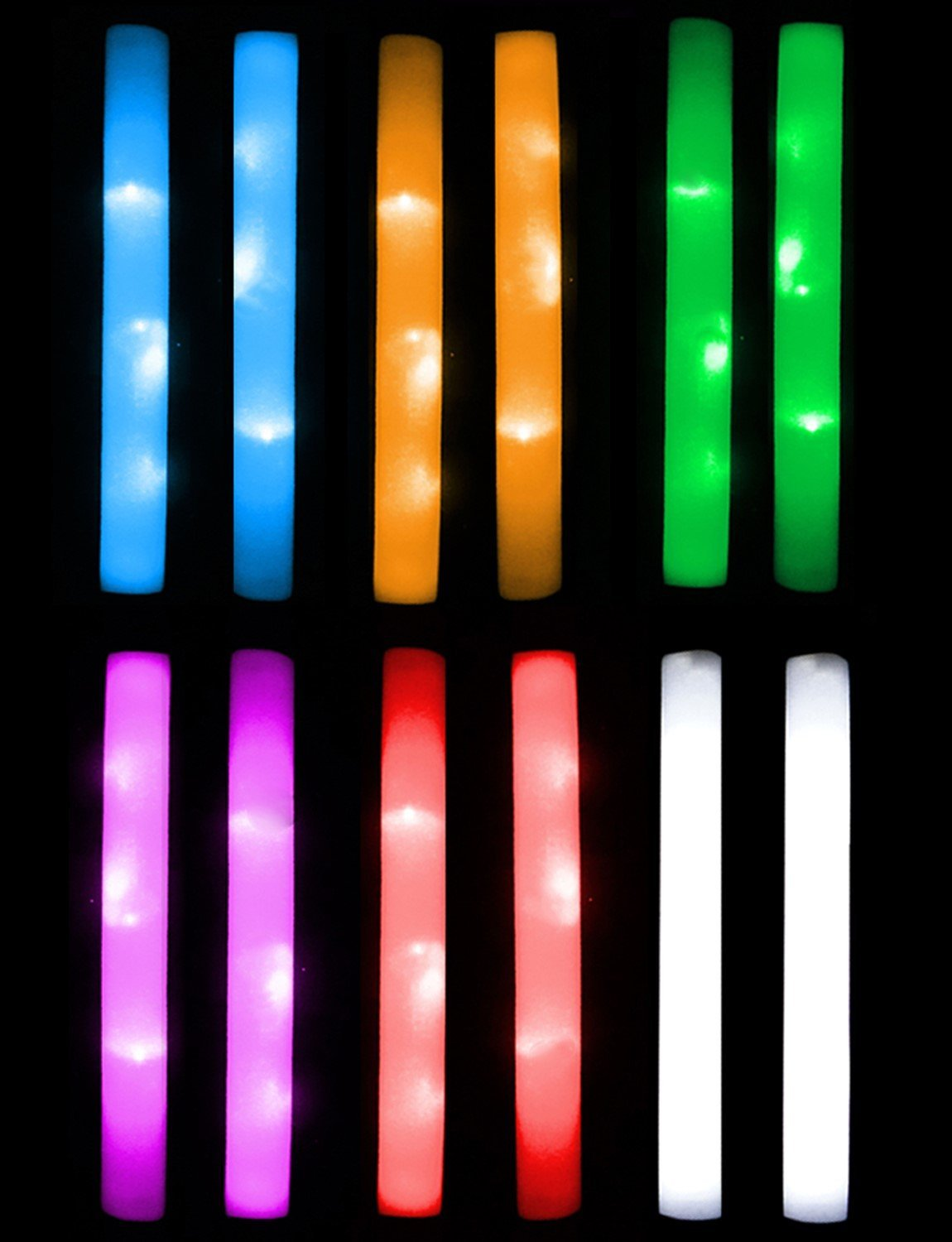 201cd09eb97 Light Stix - LED Foam Baton Party Sticks Unique Colors - 12 Pack
