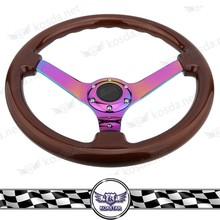 Chinese Car Parts Neo Chrome Wood Steering Wheel, Racing Wheel