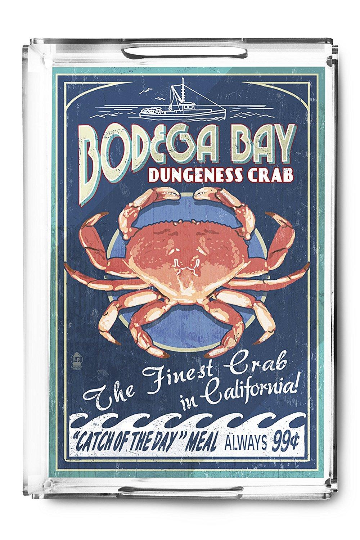 Bodega Bay, California - Dungeness Crab Vintage Sign (Acrylic Serving Tray)