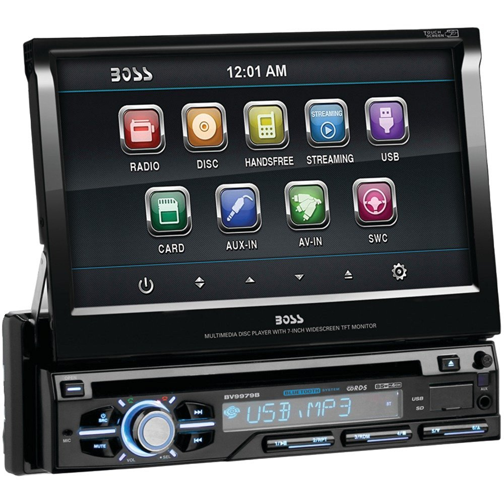 """1 - 7"""" Single-DIN In-Dash Flip-Up DVD Receiver with Bluetooth(R), 7"""" single-DIN in-dash motorized flip-up touchscreen widescreen monitor , Detachable front panel , Bluetooth(R) for hands-free calling"""