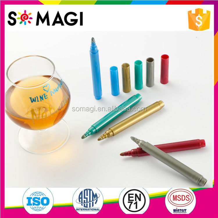 Suction Cup Wine Glass Marker Vibrant Charming Colors Party Specialized Usage Wine Marker Pen