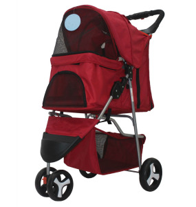 Foldable Pet Stroller Jogger Outdoor Three Wheels Travel Carrier for Dogs Cats