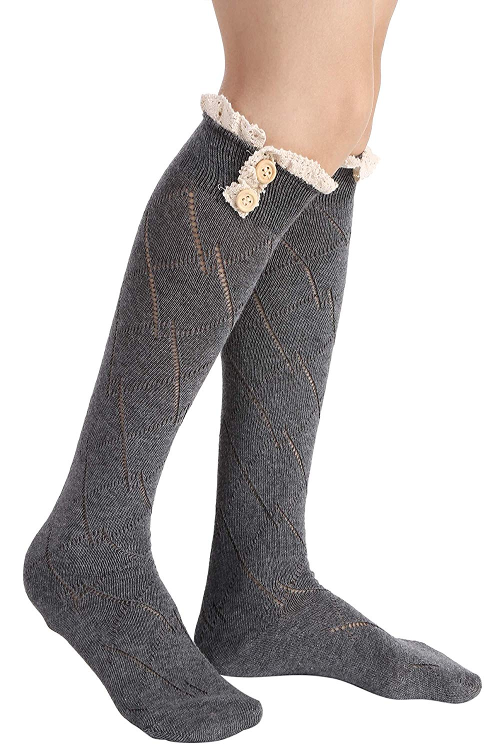 d8d7bf60f Get Quotations · Dongba Womens Sexy Bow Boot Socks Lace Crochet Boot Knee  Long Socks Leg Warmer Soft Socks
