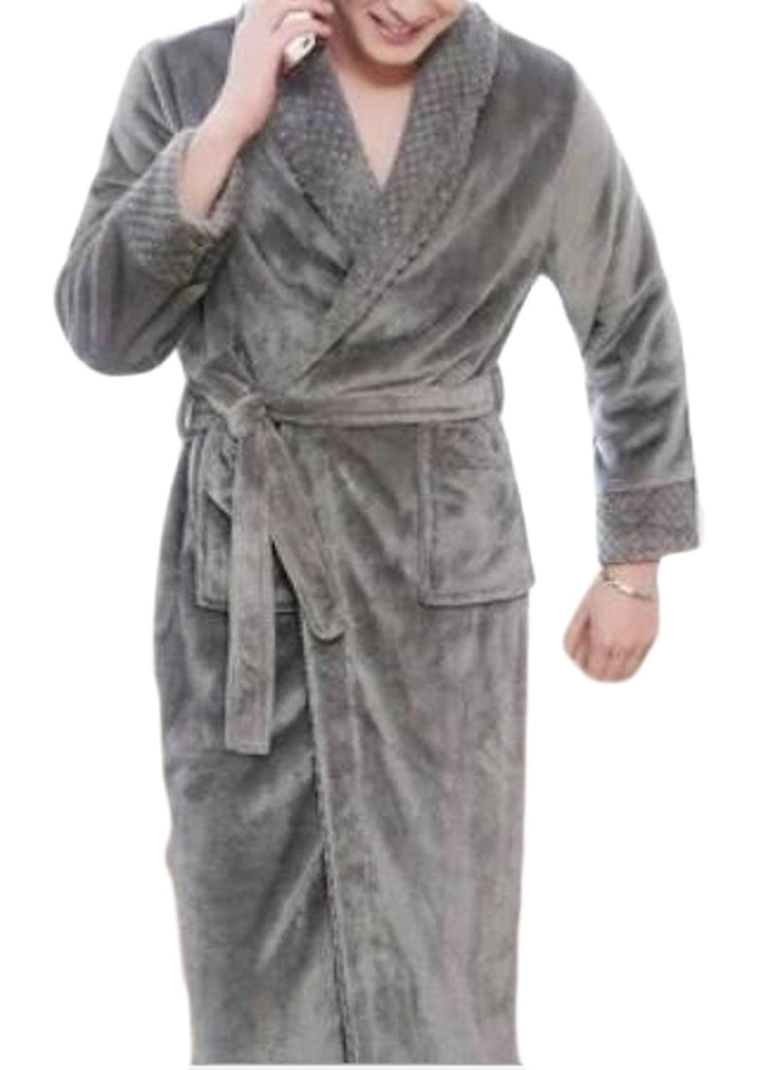 WSPLYSPJY Mens Robes Winter Warm Thicken Elong Flannel Bathrobe with Belt