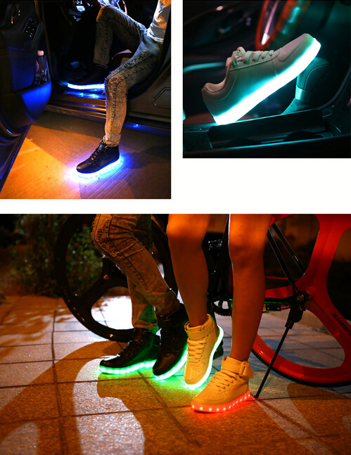 Casual style flashing LED light shoes7 color led luminous shoes women floral glowing shoes chaussures adult flashing shoes