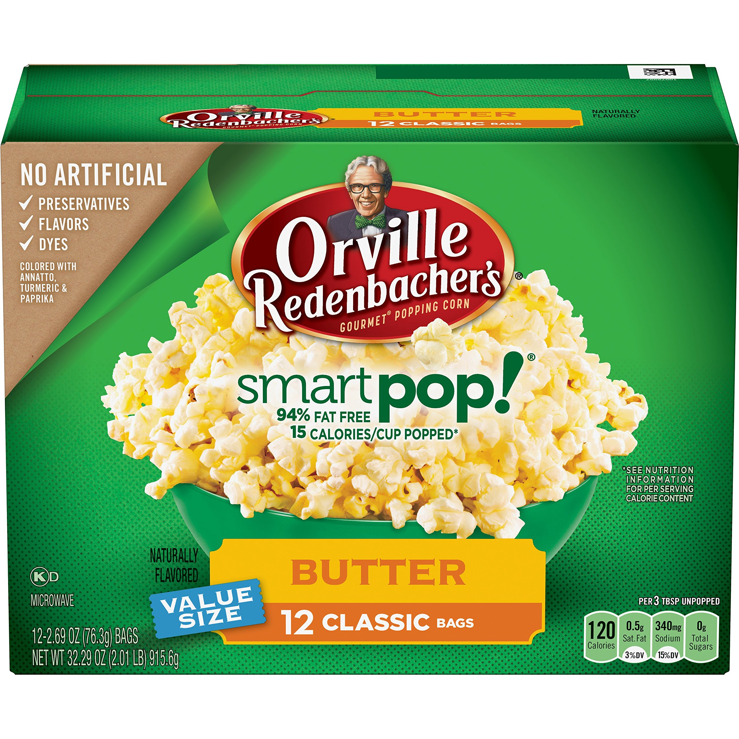Orville Redenbacher's SmartPop Butter Popcorn, Classic Bag,  12 Count (Pack of 6)