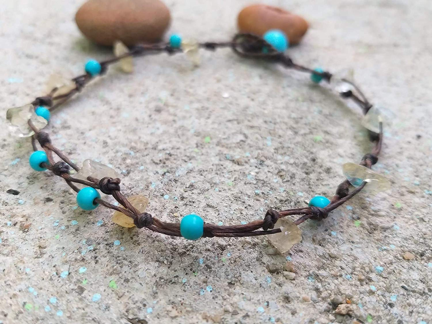 Anklets,Citrine stone anklets, Turquoise stone anklets,It is fashionable for both women.