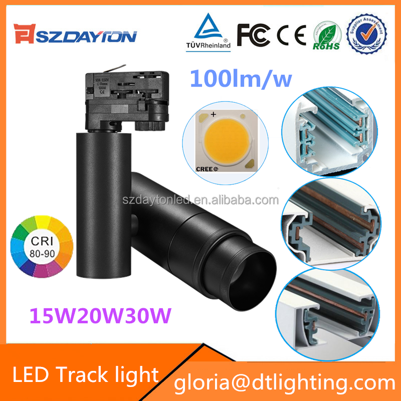 Alibaba china LED Rail lighting Adjustable beam 12 degree 30 degree cob led track lighting 30w