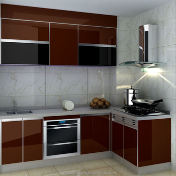 High Glossy Red And Black Flat Panel Tempered Glass Kitchen Cabinet