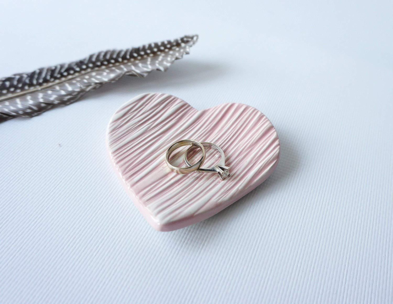 Heart Shaped Handmade Ceramic Light Pink Jewelry Dish