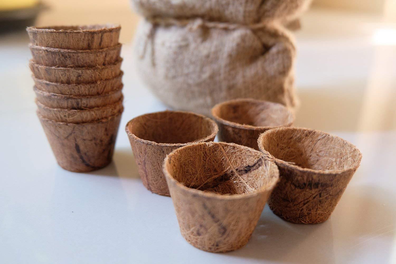 10 Pot Coconut Coir Garden Pots Organic Materials from Coconut Fiber for Seed Starter Kit (Windowsill Herb Garden Refill Kit)