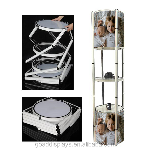 Factory direct sale exhibition display rotating showcase sprial twister tower
