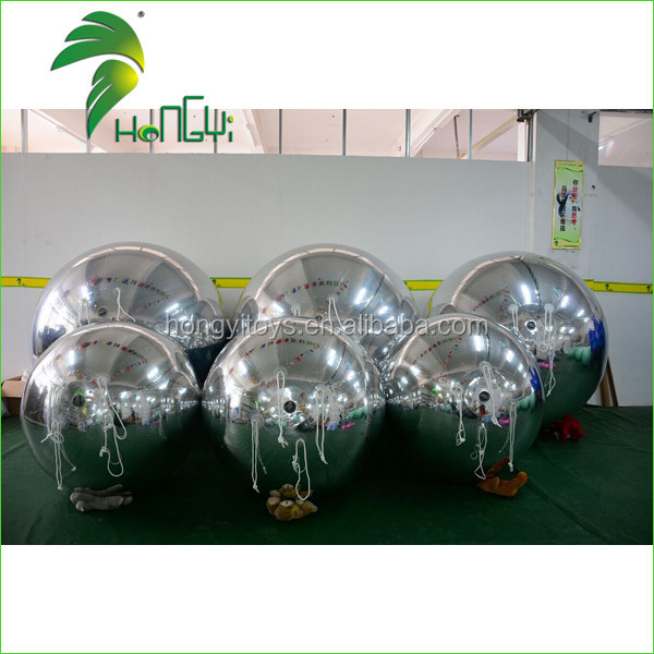 Strong PVC Advertising Inflatable Silver Balloon , Silver Reflective Inflatable Balloons For Decoration