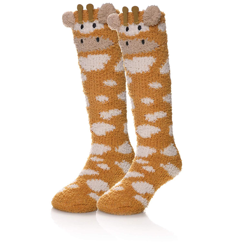 18265ae61f9 Get Quotations · SEEYAN Baby Girls Boys Knee High Fuzzy Warm Socks Kids  Toddler Cute Animal Breathable Winter Stockings