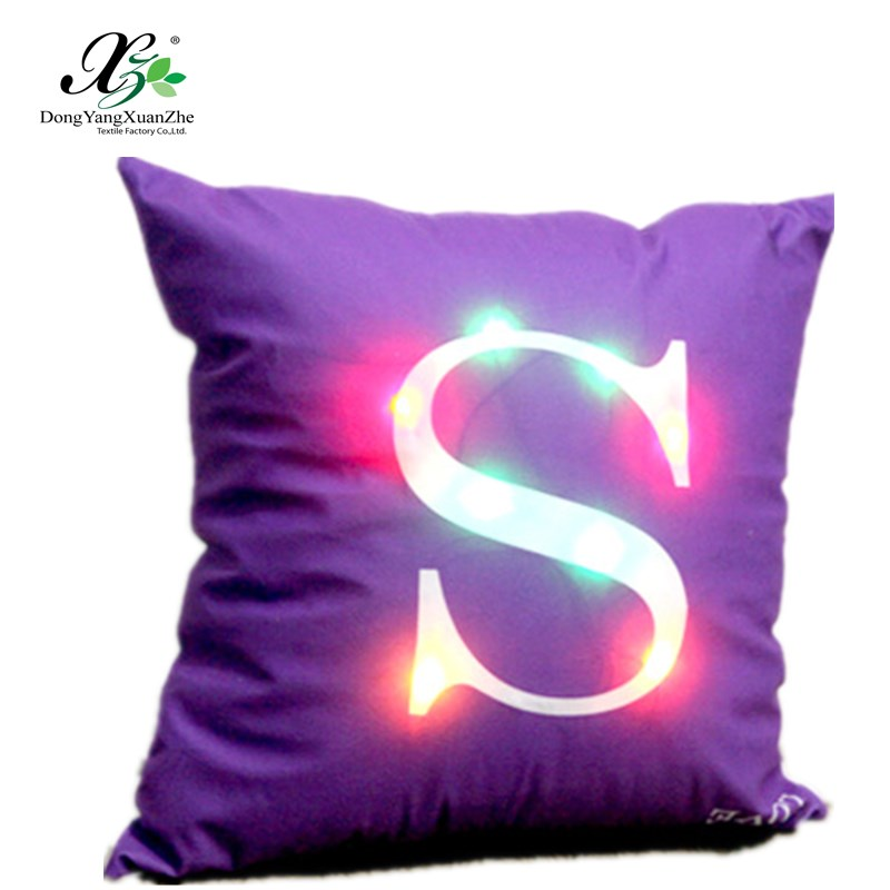 Novelty night lighting up LED letter cushion cover