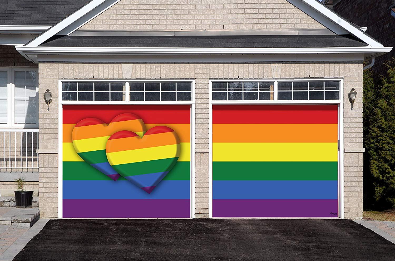 Victory Corps Pride Double Heart - Outdoor Pride LGBT Garage Door Banner Mural Sign Décor 7'x 8' Split Car Garage - The Original Holiday Garage Door Banner Decor