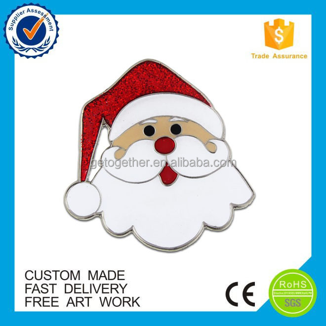High quality custom Christmas lapel pin,santa enamel pin