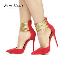 Летние женские свадебные туфли; модельные туфли на высоком каблуке 10 см; золотистые женские туфли-лодочки с ремешком на щиколотке; сандалии ...(Китай)