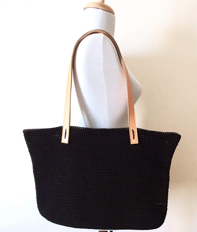 f159bebe39 Black Crochet Bag Handmade Knit Bag Black Handbag Shopper Tote Handmade  Gift for Her Custom Colors
