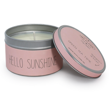 Personalized small soy wax scented candle tins with custom candle label printing