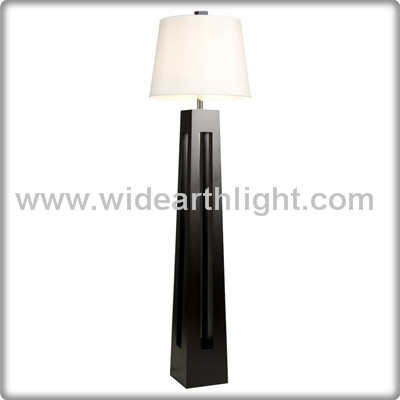 UL CUL Listed Black Finish Hotel Antique Wooden Floor Lamp With Fabric Shade F40195