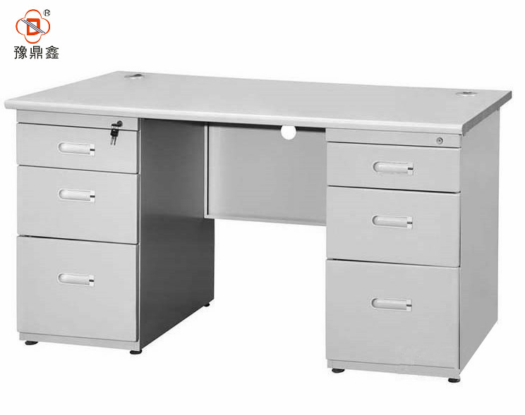 Double 3 Drawers White Steel