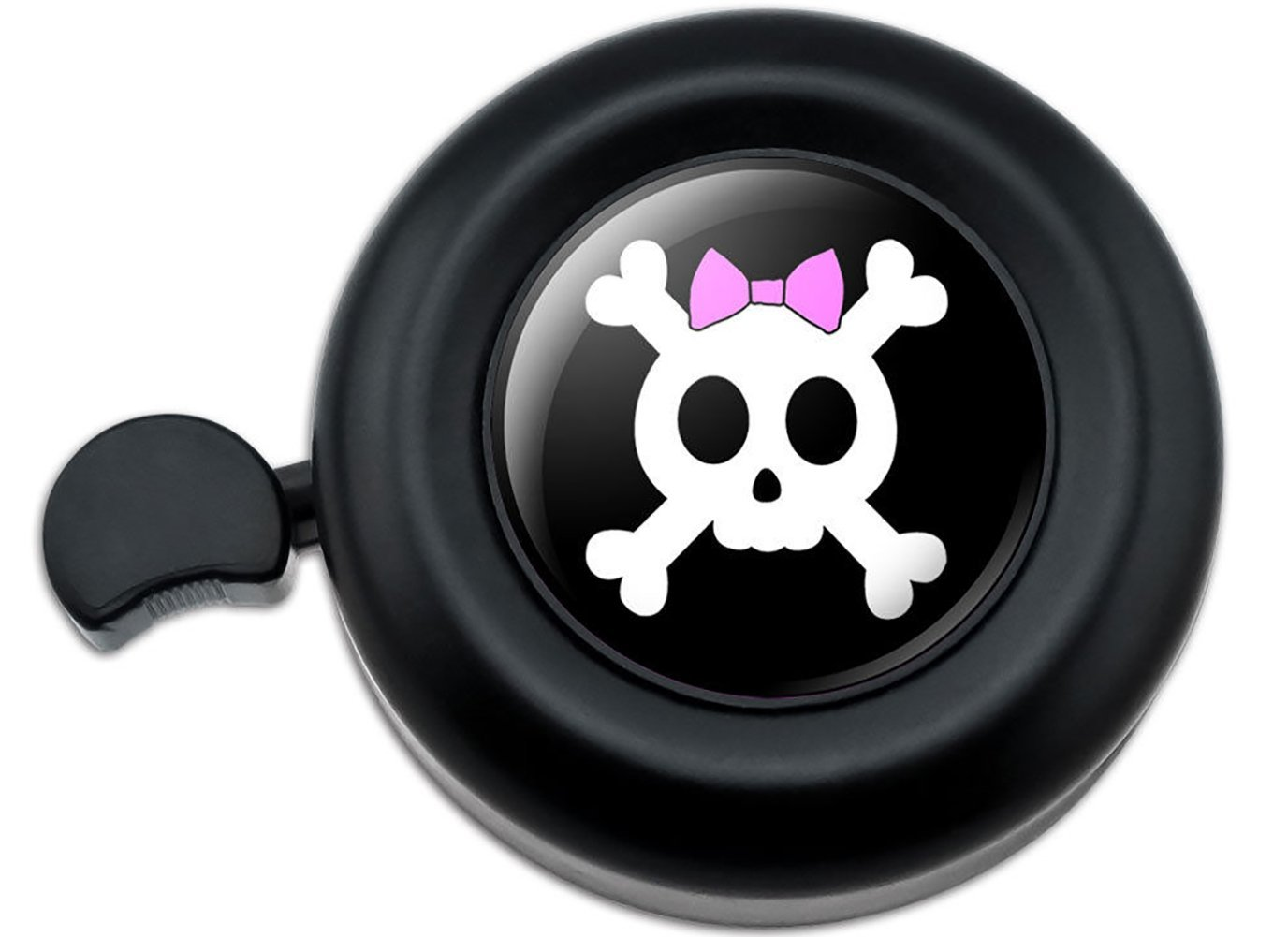 Cool and Custom {Fully Adjustable to Fit Most Bikes} Bicycle Handlebar Bell Made of Hard Metal with Cool Punk Girly Skull & Crossbones w/ Fun Hair Bow Design {Black, Pink & White Colors}