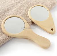 fashion cheap small wooden hand held mirror as promotion gift wholesale China