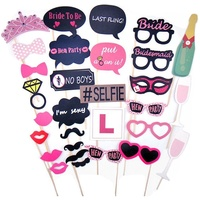 UMISS Paper Bridal shower Decorations Full Set Photo Booth Prop Moustache Wedding/Hen Do Party/Stag Night Game