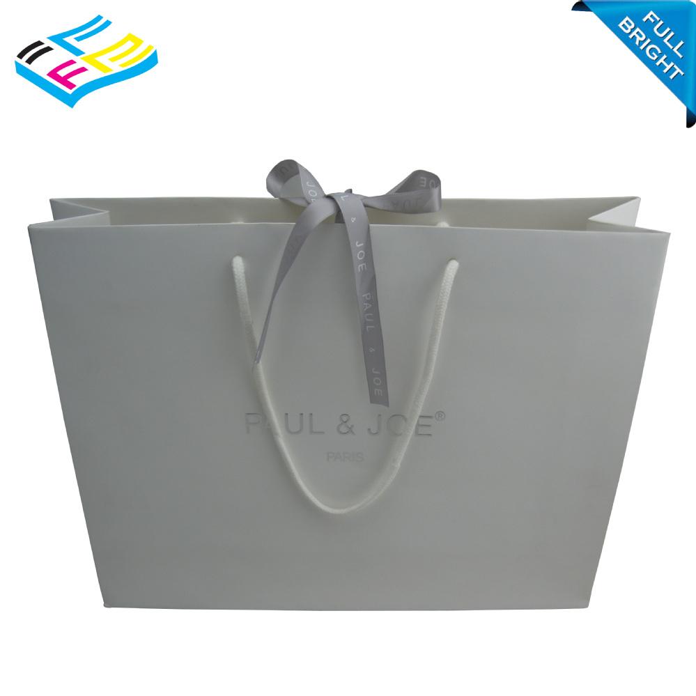 China Wholesale Handmade Matt White Cloth Paper Shopping Bag With ...