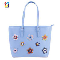 Luxury Fashion women pu leather shopping handbag Flower tote bag