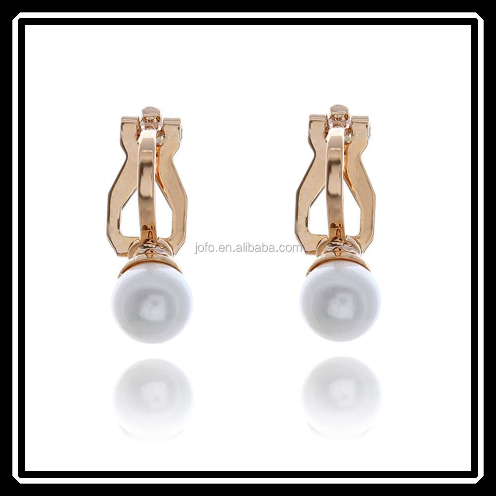 Hot Sale Fashion No Piercing Fake Pearl Earrings Clip On Jewelry No Ear Hole JHJ0168
