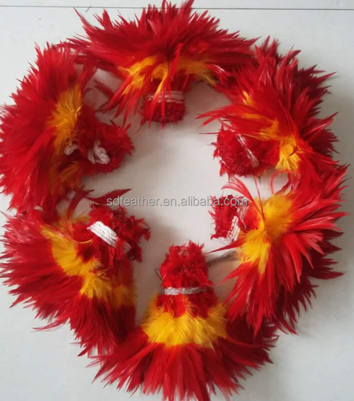15-20 cm Dyed Three Color Rooster Feathers for carnival costumes