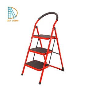 3 Iron Safety Step Ladders with Handrail