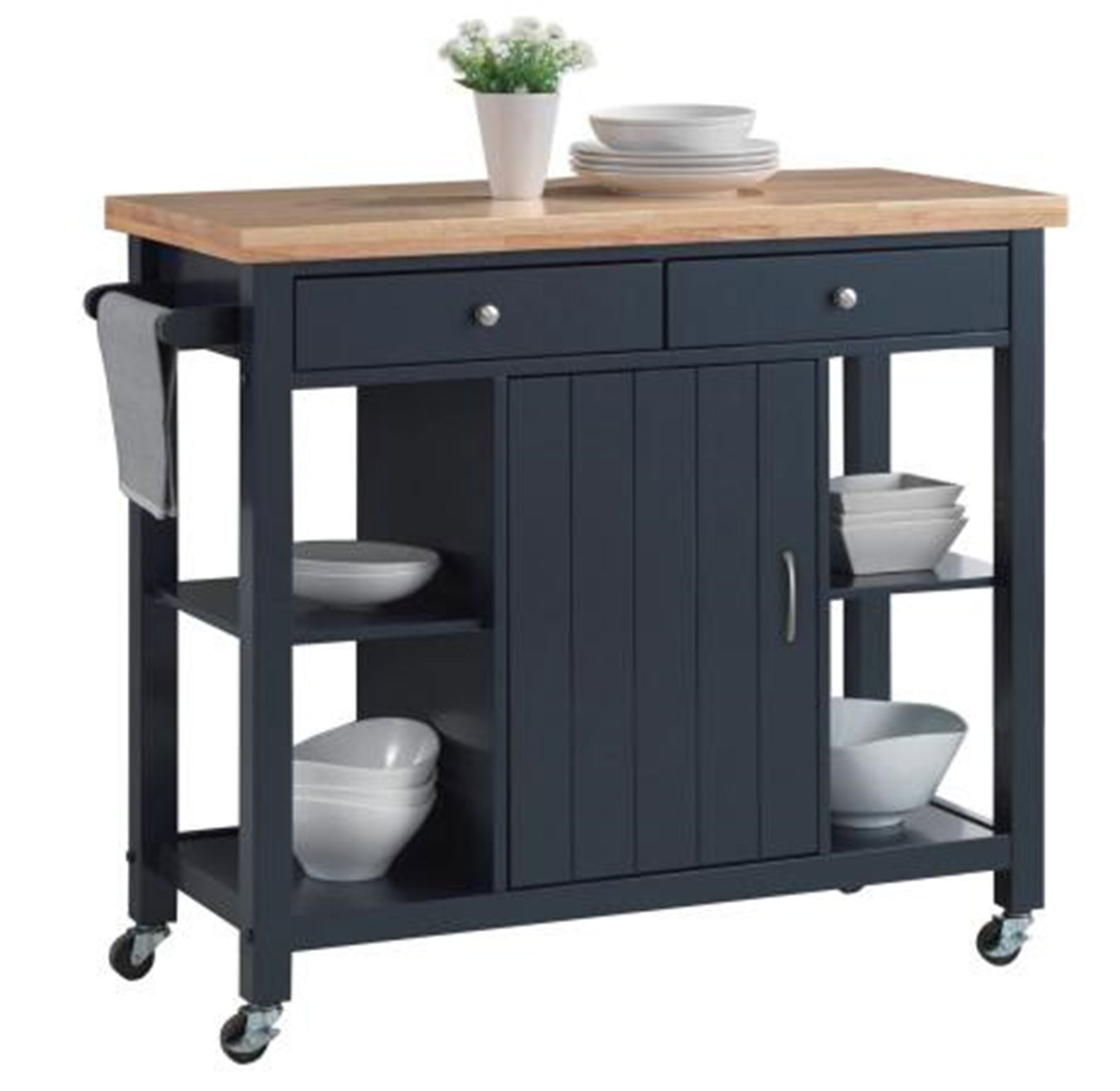 "Oliver and Smith - Nashville Collection - Large Mobile Kitchen Island Cart on Wheels - Navy Blue - Natural Butcher Block Top - 41"" W x 19"" L x 36"" H 102907-01blue"