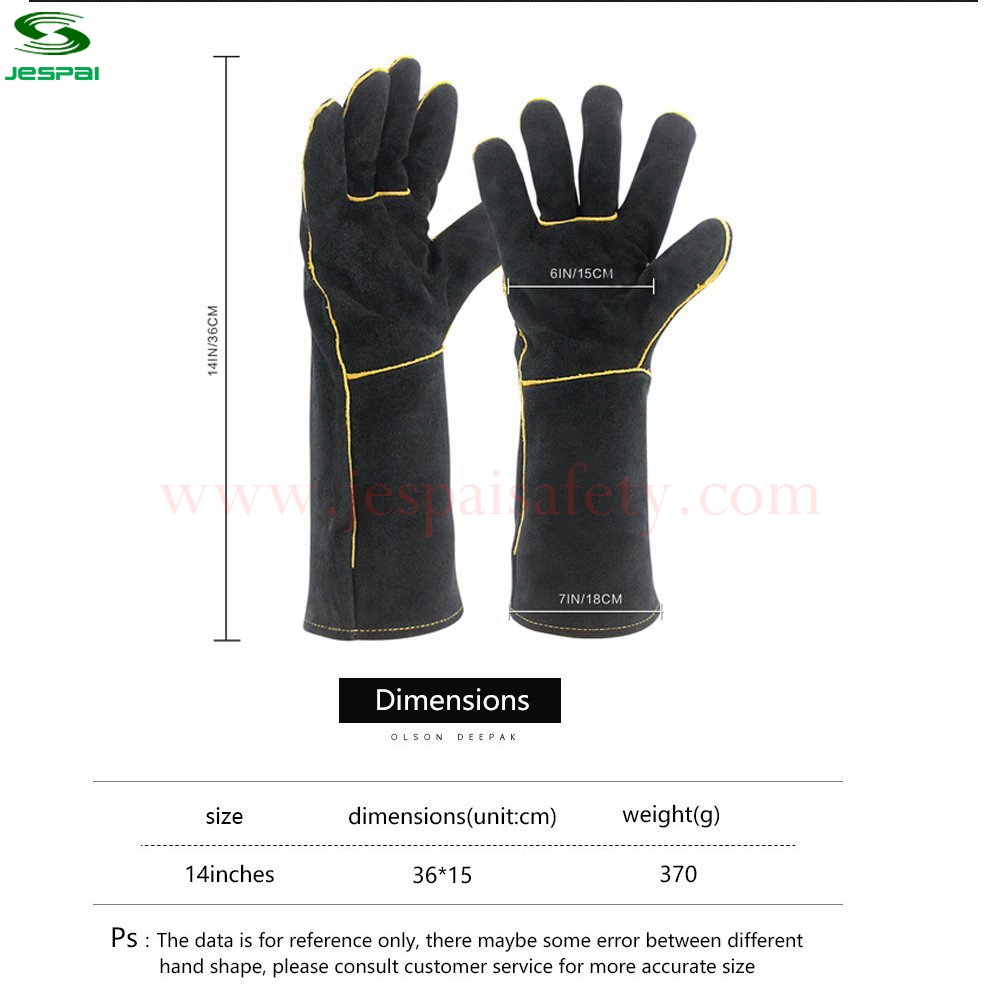 """Sunshine Factory Heat Resistant Black 14 """" Cow Leather Grill Gloves"""