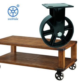 WBD Vintage Wood Coffee Table Decorative Metal Cart Iron Wheels 8u0026quot;  Furniture Caster