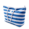 Customized stripe printed rope handle cotton beach bag for girls