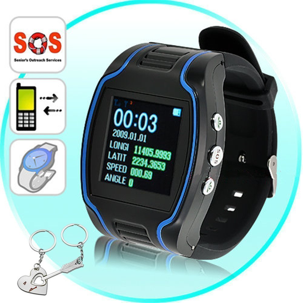 """Mengshen® Mini Child HPS Bracelet GPS Tracking Device TK109 Quad-band Handhel Navigation Outdoor Keychain Wrist Watch Activity Tracker Smallest Chip 1.5"""" LCD SOS Real Time Locator MS-GPS09"""
