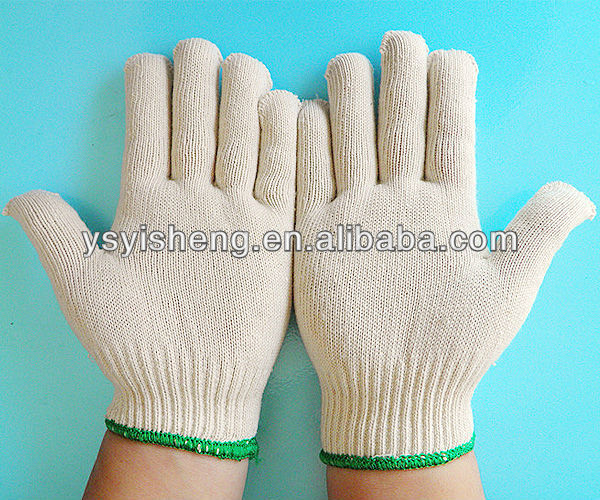 Natural white ladies purple cotton gloves for working