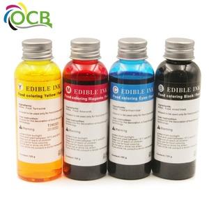 Ocbestjet 100ML/Bottle 4 Colors Refill Edible Ink For HP 803 Coffee Cake  Printer