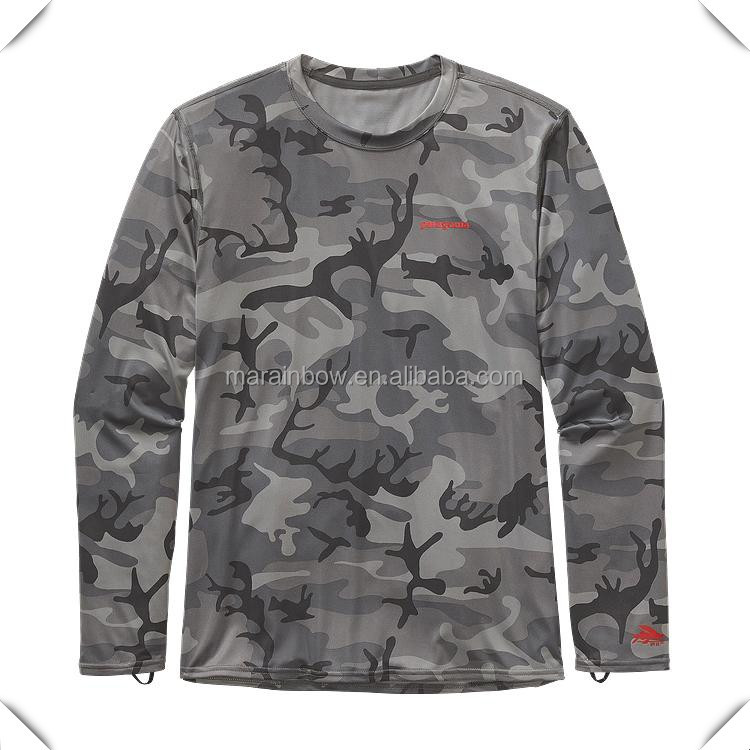 technical performance dry fit sublimation printing long sleeve camo fishing t shirts with loose fit cut for comfort outdoor